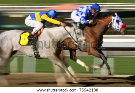 ARCADIA, CA - DEC 30: Jockey Rafael Bejarano (#6) competes in a thoroughbred race at historic Santa Anita Park on Dec 30, 2010 in Arcadia, CA.
