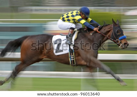 ARCADIA, CA - FEB 19: Jockey Martin Garcia and Awesomemundo win the 5th race at Santa Anita Park in Arcadia, CA, on Feb 19, 2012.