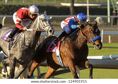 "ARCADIA, CA - JAN 12: Hall of Fame Jockey Mike Smith (blue cap) and ""Fed Biz"" outrun Corey Nakatani and ""Tritap"" to win The San Fernando Stakes at Santa Anita Park on Jan 12, 2013 in Arcadia, CA. - stock photo"
