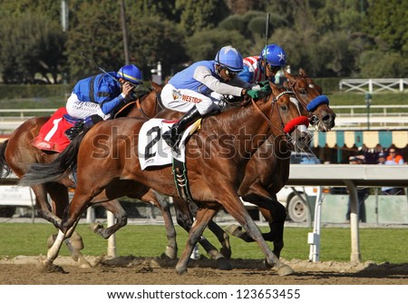 "ARCADIA, CA - JAN 5: Jockey Kevin Krigger pilots ""Goldencents"" (#2) to victory in The Sham Stakes at Santa Anita Park on Jan 5, 2013 in Arcadia, CA."