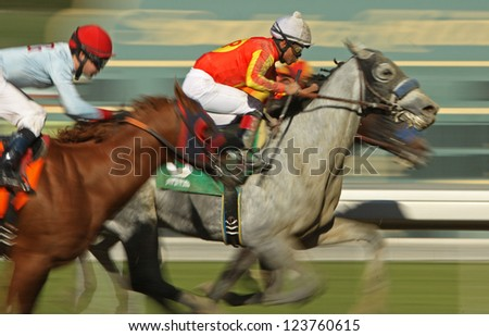 "ARCADIA, CA - JAN 5: Jockey Martin Garcia (white cap) and ""Secretsatmidnight"" compete in a maiden race at Santa Anita Park on Jan 5, 2013 in Arcadia, CA. - stock photo"