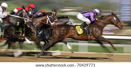 ARCADIA, CA - JAN 29: Jockey Martin Pedroza pilots Champagneandlilies (#6) to victory in a claiming race at Santa Anita Park on Jan 29, 2011 in Arcadia, CA. - stock photo