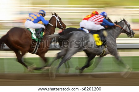 ARCADIA, CA - JAN 1: Jockey Mike Smith surges past his rivals to give Irrefutable (grey roan) the win in the 7th race at Santa Anita Park on Jan 1, 2011 in Arcadia, CA.