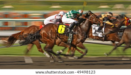 "ARCADIA, CA - MAR 24: Jockey Ami Cedeno and ""Dr. Tong"" (#6) power down the homestretch in a maiden race at Santa Anita Park on Mar 24, 2010, in Arcadia, CA."