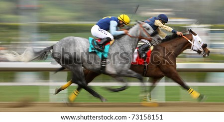 "ARCADIA, CA - MAR 12: Martin Pedroza (blue cap) pilots ""Lucky Fitz"" to victory in a claiming race at Santa Anita Park on Mar 12, 2011 in Arcadia, CA."