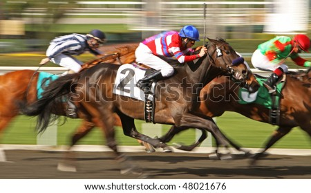 ARCADIA, CA - 4 MAR: Soldier Betty (2) carries 16 year-old Tyler Kaplan to his first try and first win as a jockey at Santa Anita Park on Mar 4, 2010 in Arcadia, CA.