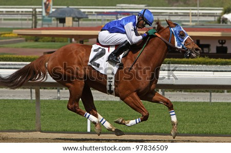 "ARCADIA, CA - MARCH 15: Jockey Kevin Krigger pilots ""Maui Mark"" to victory in a claiming race at Santa Anita Park on March 15, 2012 in Arcadia, CA. - stock photo"