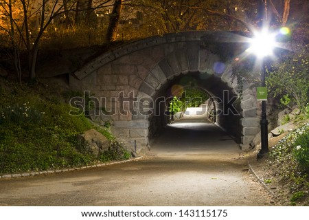 Arch and tunnel in Central Park, New York City. - stock photo