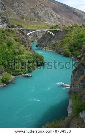 Arch bridge over Kawarau river near Queenstown, New Zealand - stock photo