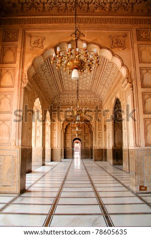 Arch Design Inside Badshahi Mosque Lahore - stock photo