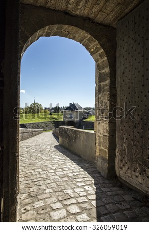 Arch entrance gate of the Blaye Citadel, Gironde, France