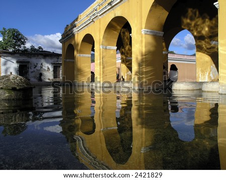 arch in antigua Guatemala, - stock photo