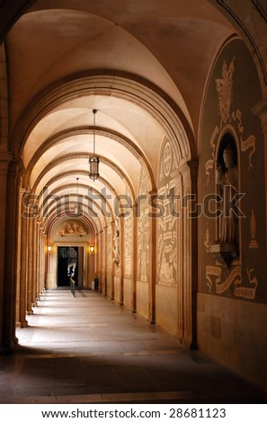 Arch in the Cloister in Montserrat - stock photo