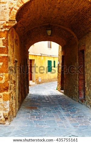 Arch in the Historical Center of Italian Medieval City  - stock photo