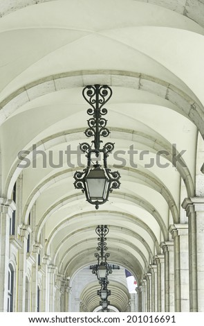 Arch in urban street lamps, construction and architecture - stock photo