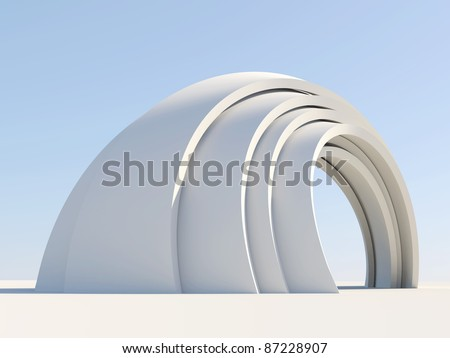 Arch isolated on sky blue background - stock photo