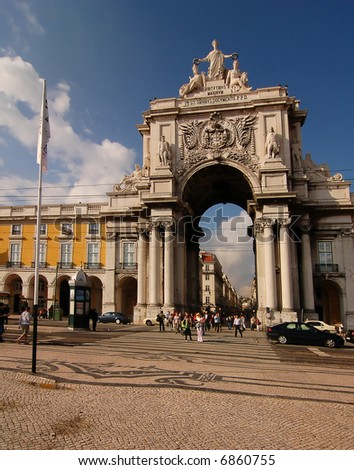 Arch linking the Commerce Square and Augusta Street, Lisbon, Portugal