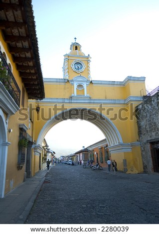 arch of arco de  santa catalina antigua guatemala - stock photo
