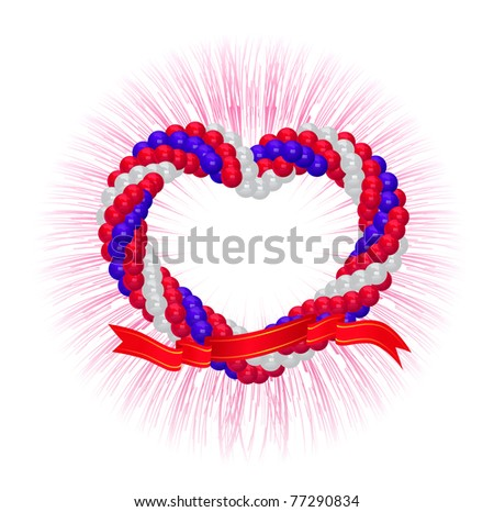 Arch of balloons twisted in a spiral form on white - stock photo