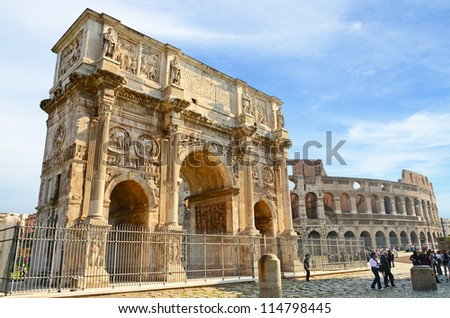 Arch of Constantine and coliseum in background at Rome, Italy - stock photo