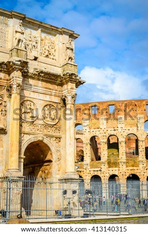 Arch of Constantine and Colosseum in Rome, Italy. The ruins of Roman forum.  - stock photo