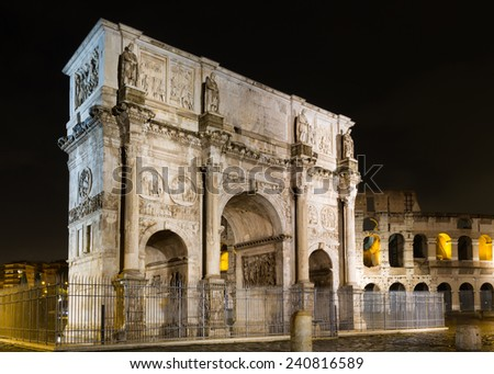 Arch of Constantine at night, Rome, Italy - stock photo