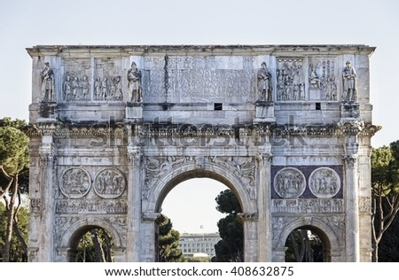 Arch of Constantine in Rome, Italy - stock photo