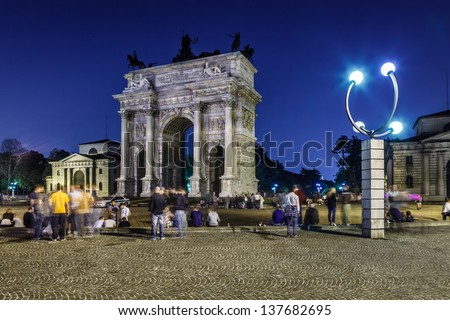 Arch of Peace in Sempione Park at Night, Milan, Italy - stock photo