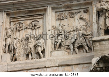 Arch of Titus	detail showing Roman leaders and their legions in typical armor and weapons,	Rome	Italy
