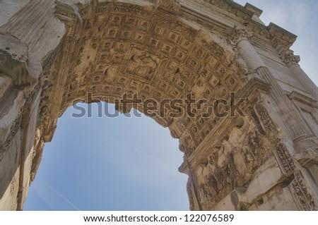 Arch of Titus, Forum Romanum, Rome, Italy - stock photo