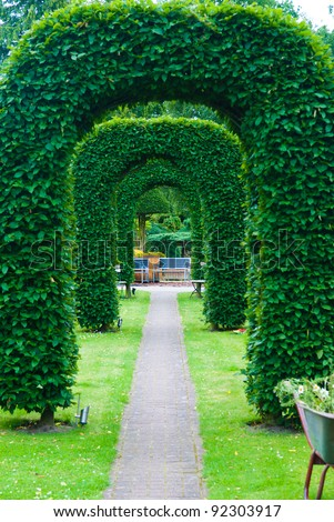 arch of topiary - stock photo
