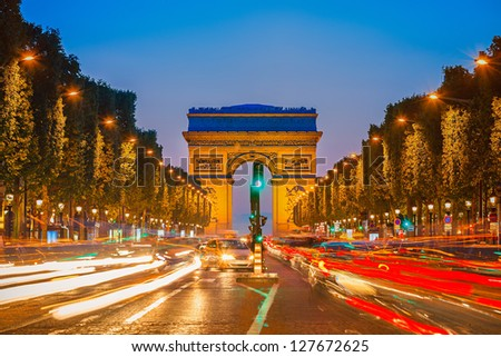 Arch of Triumph at night, Paris - stock photo