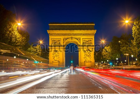 Arch of Triumph at night, Paris, France - stock photo
