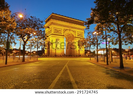 Arch of Triumph at night, Paris, France