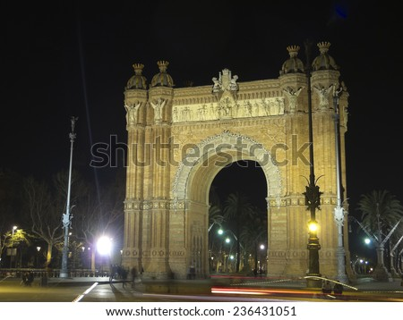 Arch of Triumph by night, Barcelona Spain - stock photo