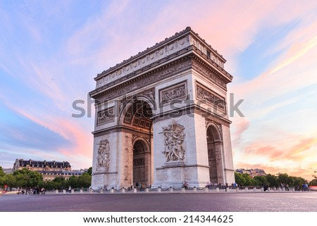 Arch of Triumph, Champs-Elysees at sunset in Paris - stock photo