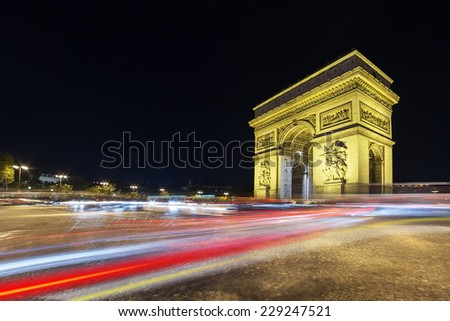 Arch of Triumph in the evening, Paris, France - stock photo