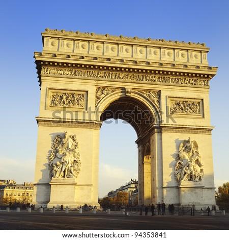 Arch of Triumph on the Etoile place square. Paris, France - stock photo