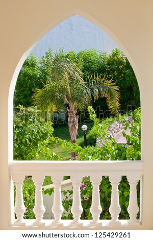 arch with garden - stock photo