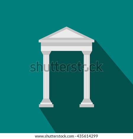 Arch with roof icon, flat style - stock photo