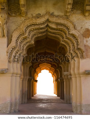 Arch with white empty space at the end (Hampi, Karnataka, India) - stock photo