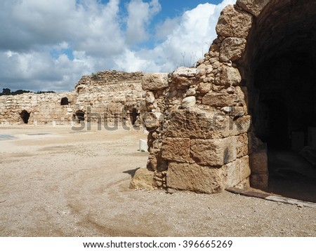 Archaeological amphitheater          - stock photo