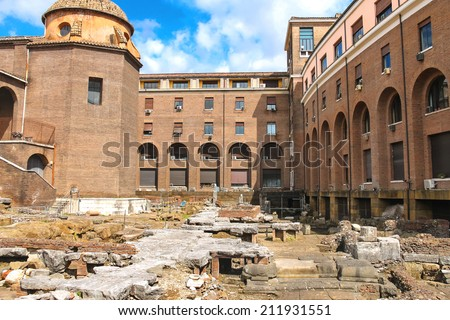 Archaeological excavations in the courtyard of a modern building in Rome, Italy - stock photo