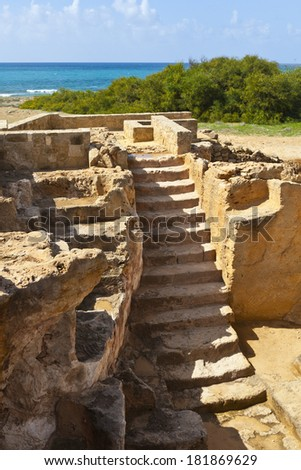 Archaeological museum site of the Tombs of the Kings in Paphos, Cyprus. - stock photo