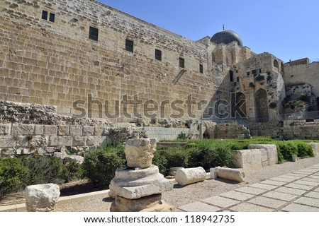 Archaeological park near Western Wall in old city of Jerusalem, Israel.