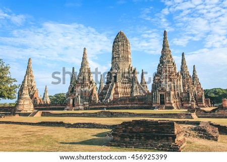 Archaeological site at Wat Chaiwatthanaram in vintage tone at Ayutthaya historical city ,Thailand, Public place, Ayutthaya,Thailand  - stock photo