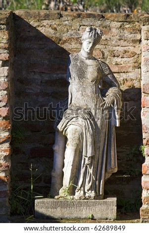 Archaeological site of ancient Dion of Katerini city in north Greece Temple of Isis with the Statue of Goddess Aphrodite or Venus - stock photo