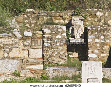 Archaeological site of ancient Dion of Katerini city in north Greece Temple of Zeus - stock photo