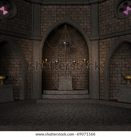 archaic altar or sanctum in a fantasy setting. 3D rendering of a fantasy theme. ideal for background usage. - stock photo