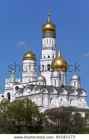 Archangel Cathedral and Ivan the Great Bell in the Moscow Kremlin. Moscow. Russia. - stock photo